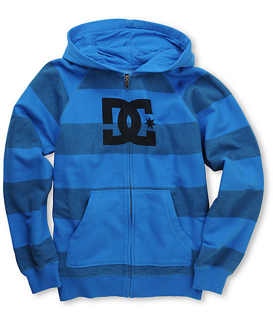 DC Boys Cooler Blue Striped Zip Up Hoodie