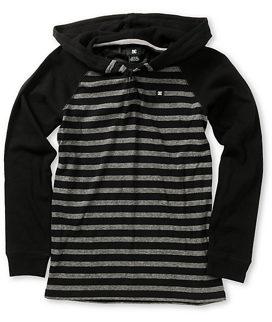 dc boys copius black long sleeve hooded shirt