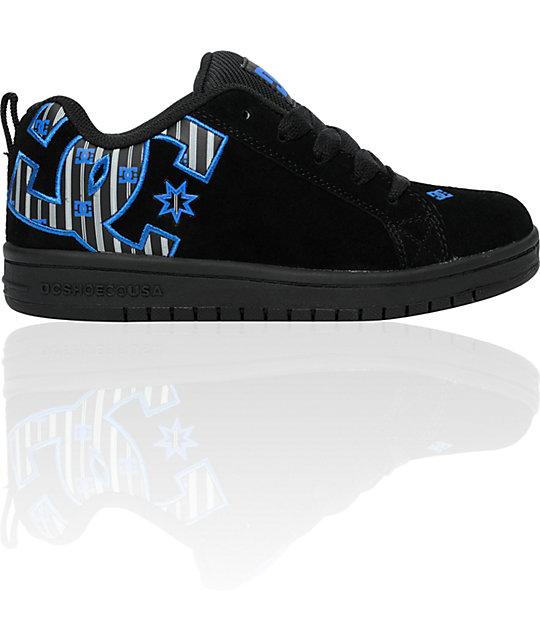 DC Boys Court Graffik Black & Royal Shoes