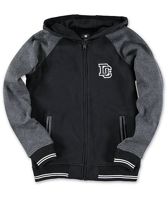 DC Boys District Black Fleece Varsity Zip Up Hoodie