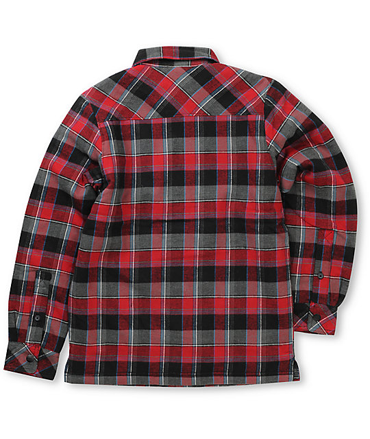 DC Boys Flak Black & Red Flannel Shirt