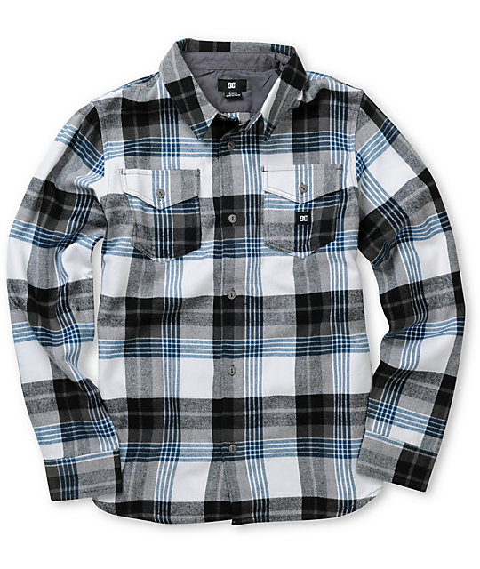 DC Boys Hackelman White & Blue Plaid Flannel Shirt