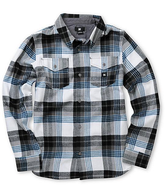 Dc Boys Hackelman White Blue Plaid Flannel Shirt