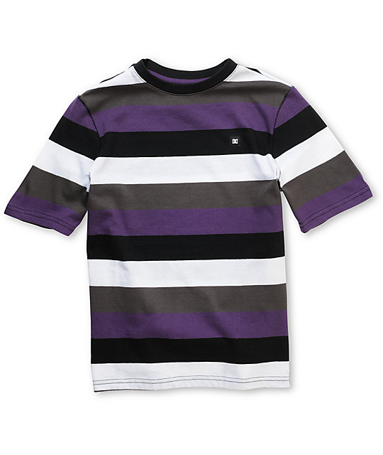 DC Boys Highlight Black & Purple Stripe T-Shirt