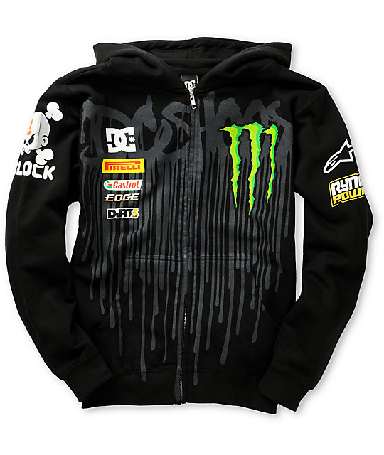 DC Boys Ken Block Drip Black Zip Up Hoodie