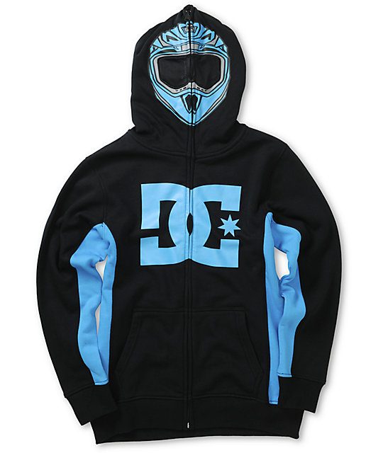 Boys Moto Full Zip Up Face Mask Hoodie