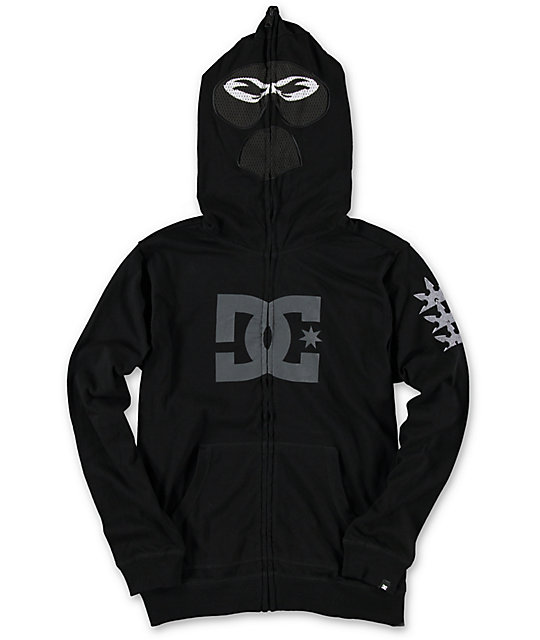 Boys Ninja Black Full Zip Up Face Mask Hoodie