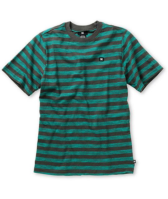 DC Boys Potter Teal & Charcoal Stripe T-Shirt