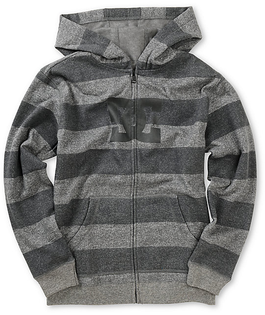 DC Boys Rebel Charcoal Striped Fleece Hoodie