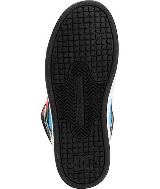 DC Boys Rebound Hi Black, Red, & Turquoise Skate Shoes