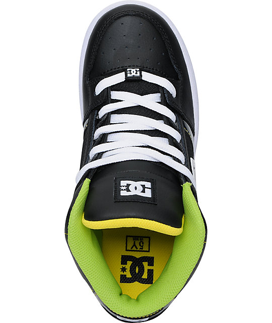 DC Boys Rebound Hi Black & Yellow Skate Shoes
