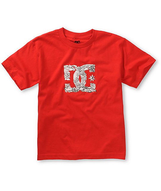 DC Boys Shattered Red T-Shirt