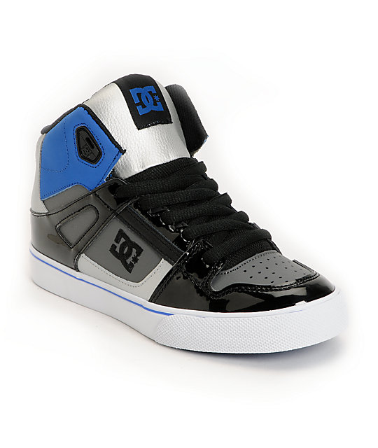DC Boys Spartan Hi Black, Blue & Silver Skate Shoes