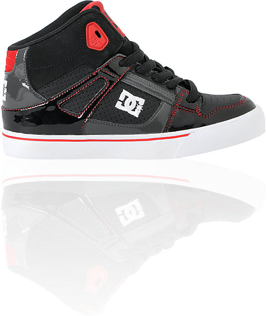 DC Boys Spartan Hi Black, Red, & White Skate Shoes