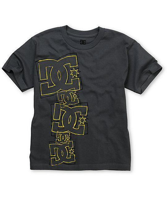 DC Boys Stacked Up Charcoal T-Shirt