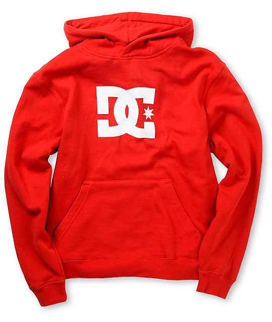 DC Boys Star Dark Red Pullover Hoodie