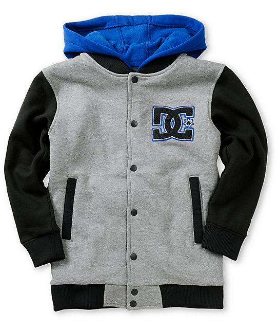 DC Boys Stax Fleece Heather Grey Hooded Varsity Jacket