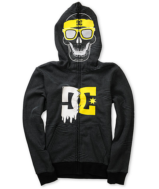 DC Boys Trainer Skull Black Full Zip Face Mask Hoodie