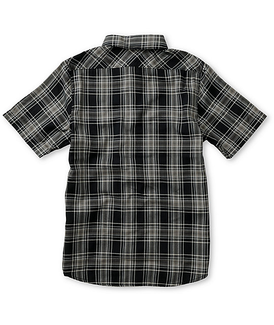 DC Boys Winthrop Black & Grey Plaid Button Up Shirt