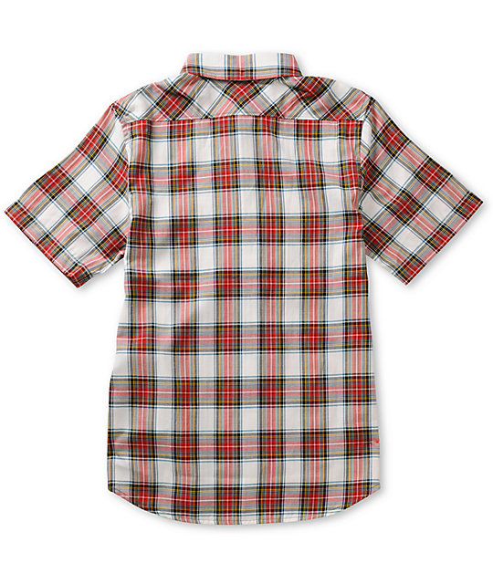 DC Boys Winthrop Red & White Plaid Button Up Shirt