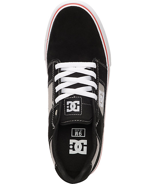 DC Bridge Black, Athletic Red & White Suede Skate Shoes