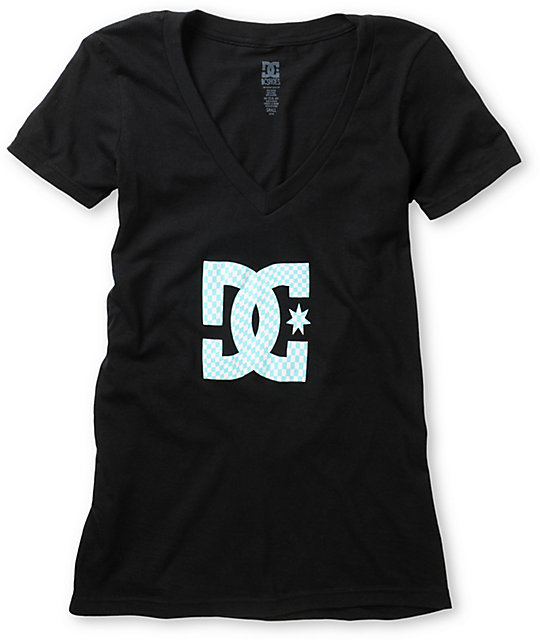 DC Checkstar Black V-Neck T-Shirt