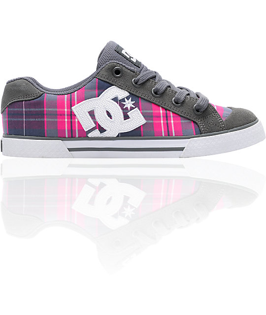 DC Chelsea Battleship Grey, Pink & Purple Plaid Shoes
