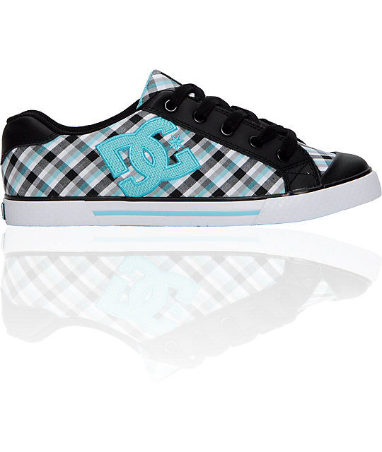 DC Chelsea Black & Ocean Plaid Shoes