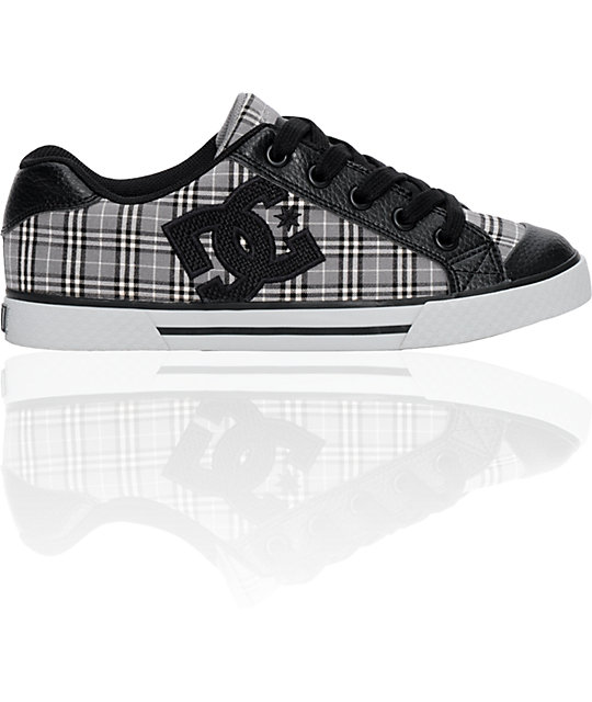 DC Chelsea Grey & Black Plaid Shoes