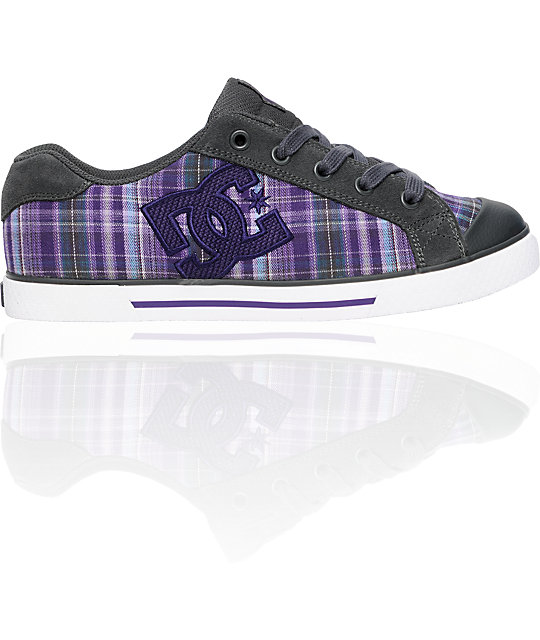 DC Chelsea Grey & Purple Plaid Shoes