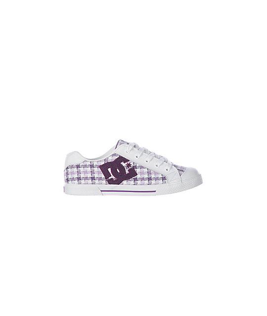 DC Chelsea White, Purple & Lavander Plaid Shoes