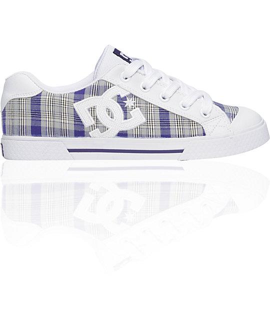 DC Chelsea White & Velvet Purple Shoes