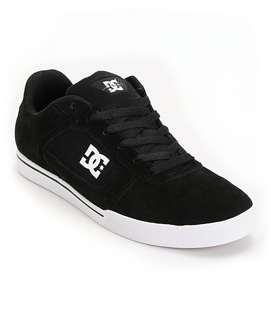 DC Cole Pro Black & White Suede Skate Shoes