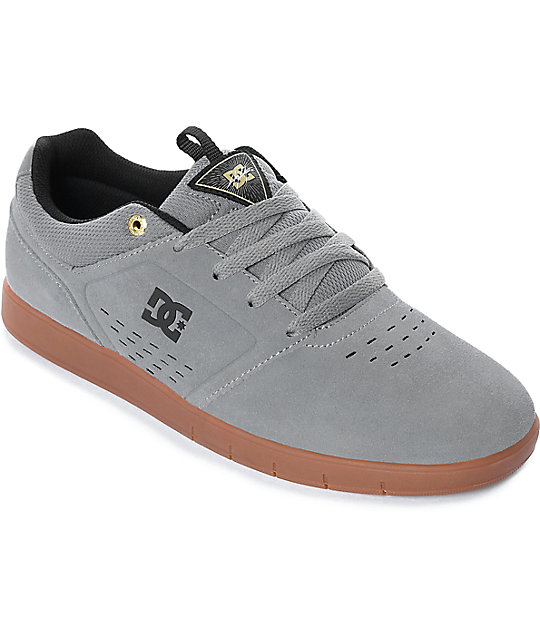 DC Cole Signature Grey & Gum Suede Skate Shoes