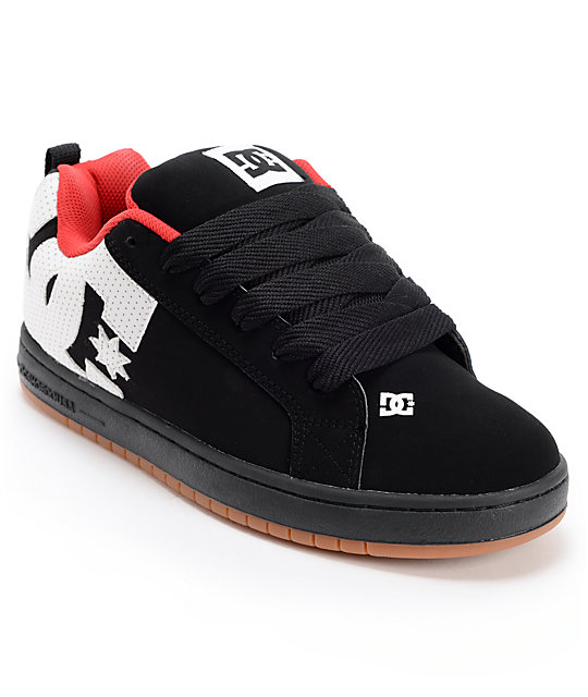 DC Court Graffik Black, White, & Red Skate Shoes
