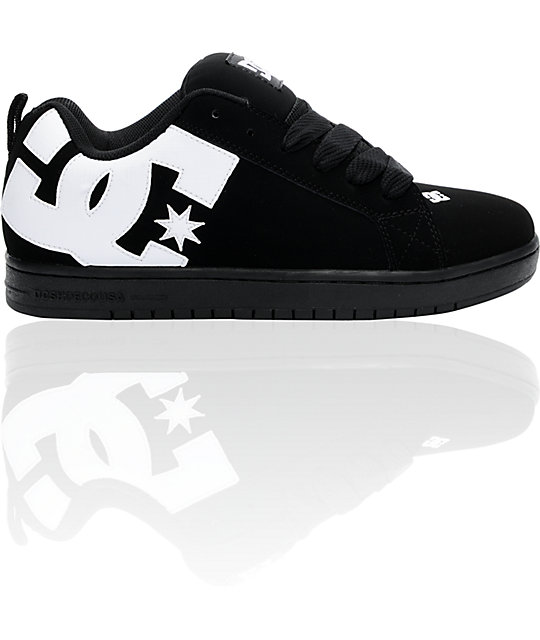 dc court graffik black white carbon skate shoes