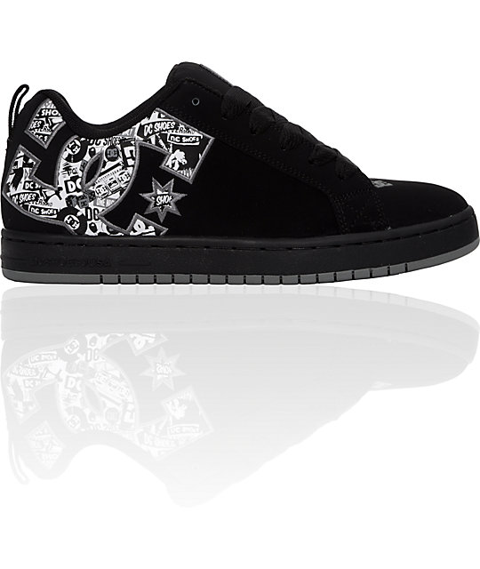 DC Court Graffik Black & Battle Print Shoes