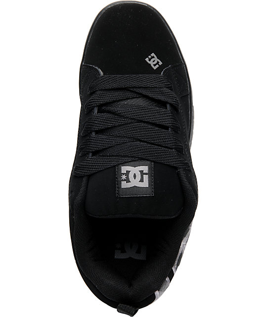 DC Court Graffik Black & Grey Plaid Skate Shoes