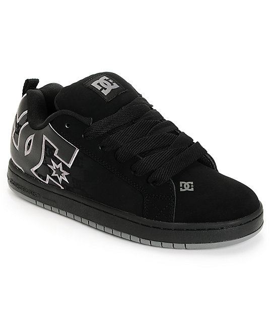 DC Court Graffik SE Black & DC Print Skate Shoes