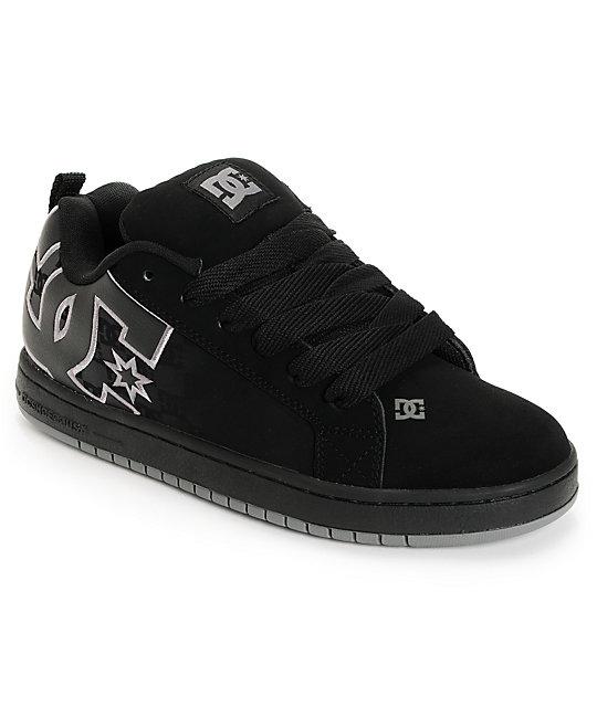 DC Court Graffik SE Black & DC Print Skate Shoes