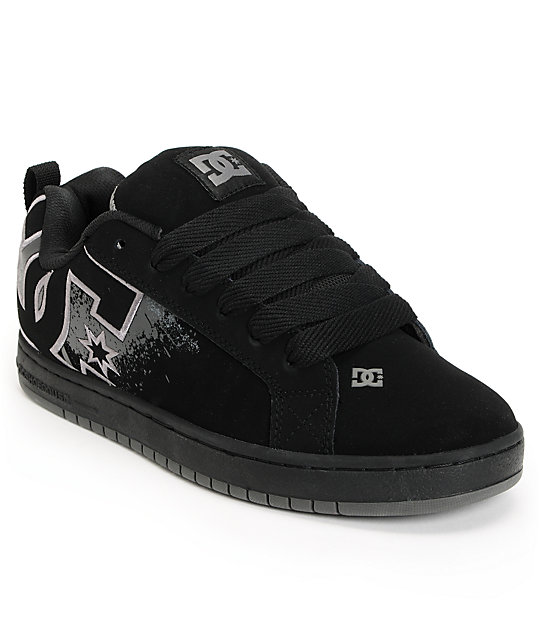 DC Court Graffik SE Black & Grey Splat Skate Shoes