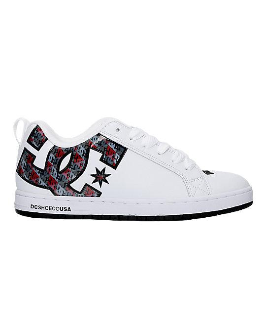 DC Court Graffik SE White, Black & Red Shoes