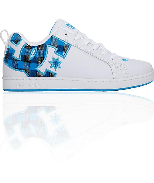 dc court graffik se white black turquoise shoes