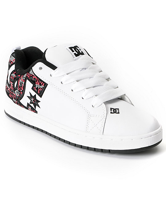 DC Court Graffik SE White & Athletic Red Skate Shoes