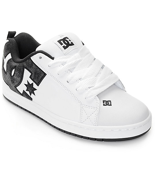 DC Court Graffik SE White & Black Acid Skate Shoes