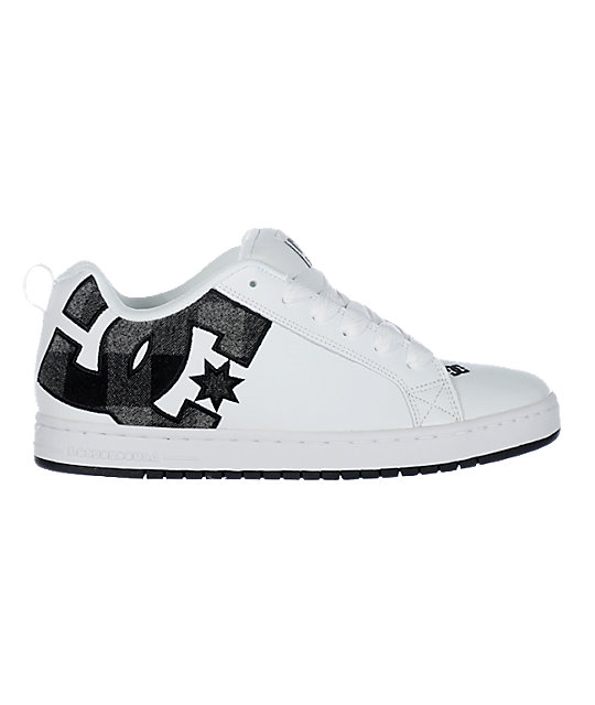 DC Court Graffik SE White & Black Plaid Shoes