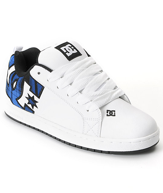 DC Court Graffik SE White & Blue Skate Shoes
