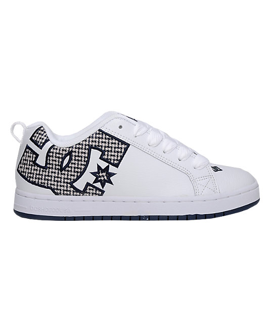 DC Court Graffik SE White & Navy Shoes