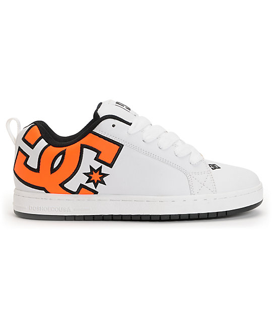 DC Court Graffik SE White & Neon Orange Skate Shoes