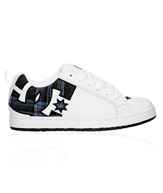 DC Court Graffik White, Black & Plaid Shoes